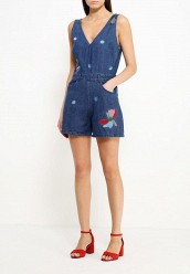 Комбинезон джинсовый LOST INKPLUNGE DENIM PLAYSUIT WITH EMBROIDERY