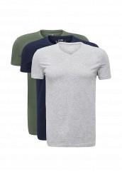 Купить Комплект футболок 3 шт. oodji зеленый, серый, синий OO001EMUTX39