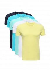 Купить Комплект футболок 5 шт. oodji белый, голубой, желтый, синий OO001EMUUT30