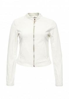 Куртка кожаная, Alcott, цвет: белый. Артикул: AL006EWRAV40. Женская одежда / Верхняя одежда / Кожаные куртки