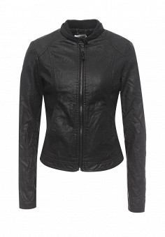 Куртка кожаная, Alcott, цвет: черный. Артикул: AL006EWRAV41. Женская одежда / Верхняя одежда / Кожаные куртки