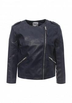 Куртка кожаная, Alcott, цвет: синий. Артикул: AL006EWRAV47. Женская одежда / Верхняя одежда / Кожаные куртки