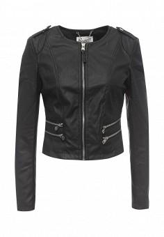 Куртка кожаная, Alcott, цвет: черный. Артикул: AL006EWRAV53. Женская одежда / Верхняя одежда / Кожаные куртки
