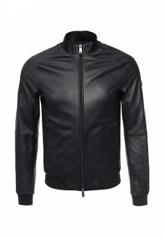 Куртка кожаная, Armani Jeans, цвет: синий. Артикул: AR411EMOVS28. Мужская одежда / Верхняя одежда / Кожаные куртки