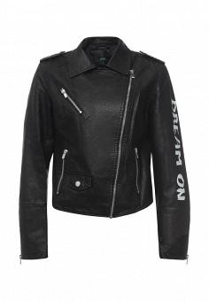 Куртка кожаная, Befree, цвет: черный. Артикул: BE031EWPKC64. Женская одежда / Верхняя одежда / Кожаные куртки