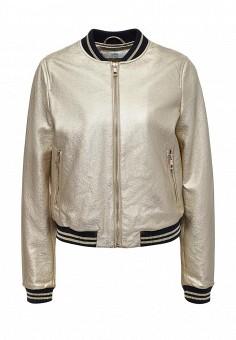 Куртка кожаная, Befree, цвет: золотой. Артикул: BE031EWPKC98. Женская одежда / Верхняя одежда / Кожаные куртки