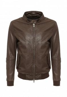 Куртка кожаная, Blouson, цвет: коричневый. Артикул: BL033EMQGN51. Мужская одежда / Верхняя одежда / Кожаные куртки