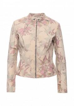 Куртка кожаная, Boss Orange, цвет: розовый. Артикул: BO456EWORV27. Женская одежда / Верхняя одежда / Кожаные куртки