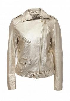 Куртка кожаная, B.Style, цвет: золотой. Артикул: BS002EWQOA78. Женская одежда / Верхняя одежда / Косухи