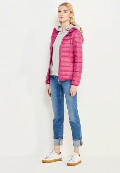Пуховик, EA7, цвет: фуксия. Артикул: EA002EWUEJ08. Женская одежда / Верхняя одежда / Пуховики и зимние куртки