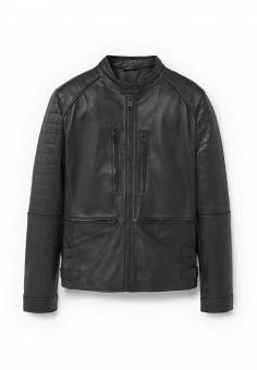 Куртка кожаная, Mango Man, цвет: черный. Артикул: HE002EMJBN11. Мужская одежда / Верхняя одежда / Кожаные куртки