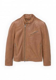 Куртка кожаная, Mango Man, цвет: коричневый. Артикул: HE002EMRIJ19. Мужская одежда / Верхняя одежда / Кожаные куртки