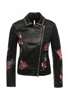 Куртка кожаная, Imperial, цвет: черный. Артикул: IM004EWSUX66. Женская одежда / Верхняя одежда / Косухи