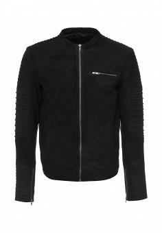 Куртка кожаная, Jack & Jones, цвет: черный. Артикул: JA391EMJVU81. Мужская одежда / Верхняя одежда / Кожаные куртки