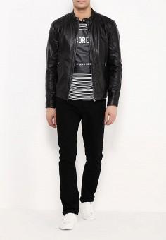 Куртка кожаная, Jack & Jones, цвет: черный. Артикул: JA391EMPQI02. Мужская одежда / Верхняя одежда / Кожаные куртки