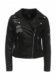 Куртка кожаная, Jennyfer, цвет: черный. Артикул: JE008EWRHI23. Женская одежда / Верхняя одежда / Кожаные куртки