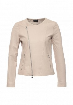 Куртка кожаная, Liu Jo, цвет: бежевый. Артикул: LI687EWOTC80. Женская одежда / Верхняя одежда / Косухи