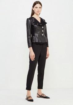 Куртка кожаная, Liu Jo, цвет: черный. Артикул: LI687EWUDN01. Женская одежда / Верхняя одежда / Кожаные куртки