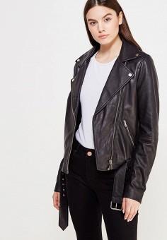 Куртка кожаная, LOST INK, цвет: черный. Артикул: LO019EWUTW84. Женская одежда / Верхняя одежда / Кожаные куртки