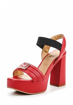 Босоножки, Love Moschino, цвет: красный. Артикул: LO416AWPUM56. Премиум / Обувь / Босоножки