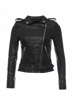 Куртка кожаная, Lusio, цвет: черный. Артикул: LU018EWSLN81. Женская одежда / Верхняя одежда / Косухи