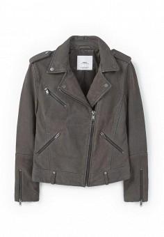 Куртка кожаная, Mango, цвет: серый. Артикул: MA002EWJWC68. Женская одежда / Верхняя одежда / Кожаные куртки
