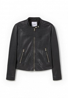 Куртка кожаная, Mango, цвет: черный. Артикул: MA002EWJWC73. Женская одежда / Верхняя одежда / Кожаные куртки