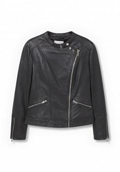 Куртка кожаная, Mango, цвет: черный. Артикул: MA002EWKWE29. Женская одежда / Верхняя одежда / Кожаные куртки