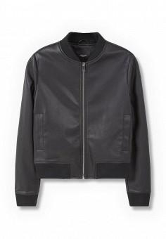 Куртка, Mango, цвет: черный. Артикул: MA002EWLKE74. Женская одежда / Верхняя одежда / Кожаные куртки