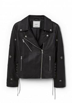 Куртка кожаная, Mango, цвет: черный. Артикул: MA002EWNPK15. Женская одежда / Верхняя одежда / Кожаные куртки