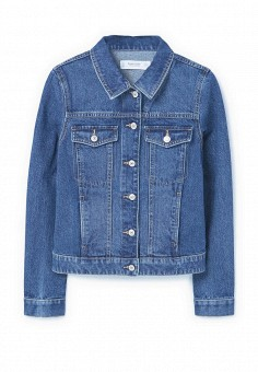 Куртка джинсовая, Mango, цвет: синий. Артикул: MA002EWPJY65. Женская одежда / Верхняя одежда / Джинсовые куртки