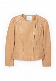 Куртка кожаная, Mango, цвет: коричневый. Артикул: MA002EWQYB43. Женская одежда / Верхняя одежда / Косухи