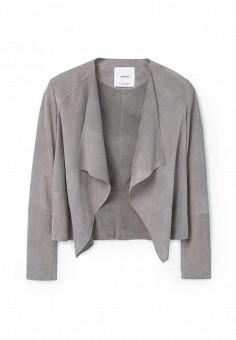 Куртка кожаная, Mango, цвет: серый. Артикул: MA002EWRSK73. Женская одежда / Верхняя одежда / Кожаные куртки