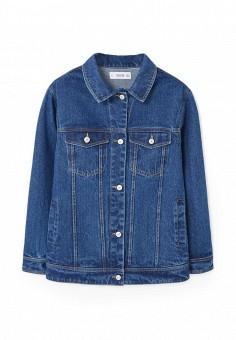 Куртка джинсовая, Mango, цвет: синий. Артикул: MA002EWSDR82. Женская одежда / Верхняя одежда / Джинсовые куртки