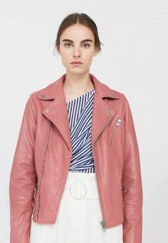 Куртка кожаная, Mango, цвет: розовый. Артикул: MA002EWTLG62. Женская одежда / Верхняя одежда / Косухи