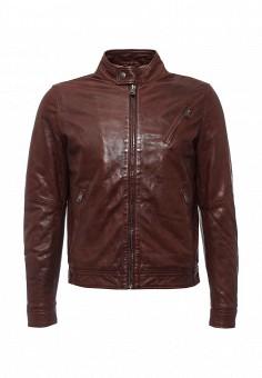 Куртка кожаная, MCS, цвет: коричневый. Артикул: MC009EMLCG21. Мужская одежда / Верхняя одежда / Кожаные куртки