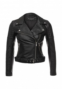 Куртка кожаная, Miss Selfridge, цвет: черный. Артикул: MI035EWRSJ28. Женская одежда / Верхняя одежда / Косухи
