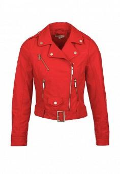 Куртка кожаная, Morgan, цвет: красный. Артикул: MO012EWOPM33. Женская одежда / Верхняя одежда / Косухи