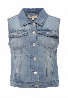 Жилет джинсовый, Modis, цвет: голубой. Артикул: MO044EWSWQ35. Женская одежда / Верхняя одежда / Жилеты / Джинсовые жилеты