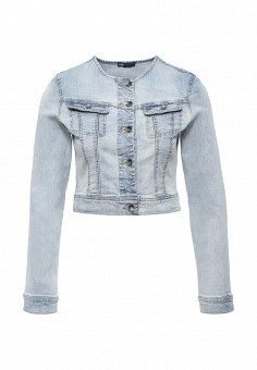 Куртка джинсовая, oodji, цвет: голубой. Артикул: OO001EWJEN97. Женская одежда / Верхняя одежда / Джинсовые куртки