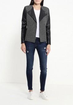 Куртка, oodji, цвет: серый. Артикул: OO001EWKFX91. Женская одежда / Верхняя одежда / Косухи