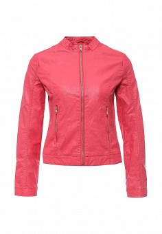 Куртка кожаная, oodji, цвет: розовый. Артикул: OO001EWOQO01. Женская одежда / Верхняя одежда / Кожаные куртки