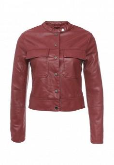 Куртка кожаная, oodji, цвет: бордовый. Артикул: OO001EWQYR61. Женская одежда / Верхняя одежда / Кожаные куртки