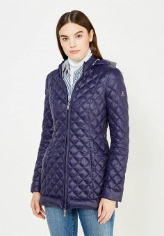 Пуховик, Patrizia Pepe, цвет: синий, серый. Артикул: PA748EWTUR59. Женская одежда / Верхняя одежда / Пуховики и зимние куртки