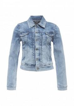 Куртка джинсовая, Pepe Jeans, цвет: голубой. Артикул: PE299EWPUP87. Женская одежда / Верхняя одежда / Джинсовые куртки