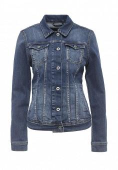 Куртка джинсовая, Pepe Jeans, цвет: синий. Артикул: PE299EWPYT33. Женская одежда / Тренды сезона / Летний деним / Джинсовые куртки