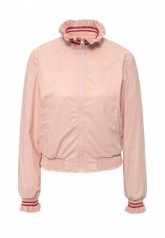Куртка кожаная, Pinko, цвет: розовый. Артикул: PI754EWOID55. Женская одежда / Верхняя одежда / Кожаные куртки