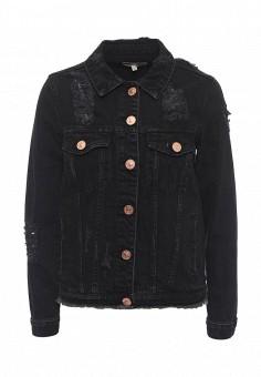 Куртка джинсовая, River Island, цвет: черный. Артикул: RI004EWSCI66. Женская одежда / Тренды сезона / Летний деним / Джинсовые куртки