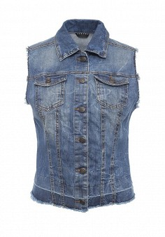 Жилет джинсовый, Sisley, цвет: синий. Артикул: SI007EWPIP46. Женская одежда / Верхняя одежда / Жилеты