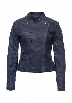 Куртка кожаная, Softy, цвет: синий. Артикул: SO017EWMJU97. Женская одежда / Верхняя одежда / Кожаные куртки